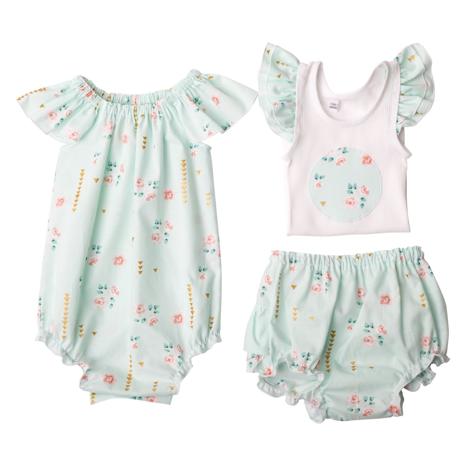 Girls Flat Lay Collection Mint Summer Floral
