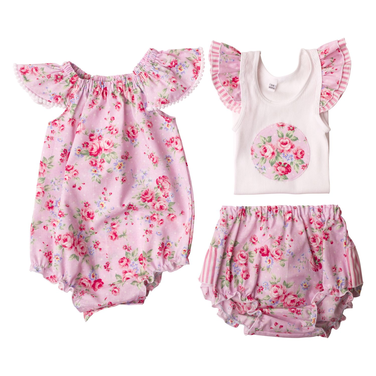 Girls Flat Lay Collection Pink Summer Floral