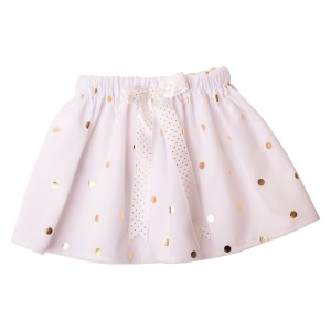 Girls Tutu Twirling Skirts Collection White Gold Spot Tulle Tutu Skirt3