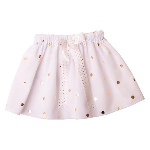 Girls Tutu Twirling Skirts Collection White Gold Spot Tulle Tutu Skirt3