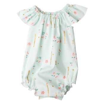 Mint Summer Floral Collection05Flutter Sleev Romper