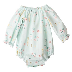 Mint Summer Floral Collection06Long Seelve Fabric Romper