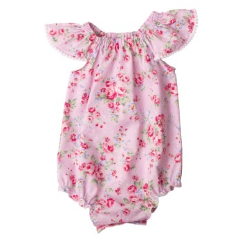 Pink Summer Floral Collection6 Flutter Sleeve Romper