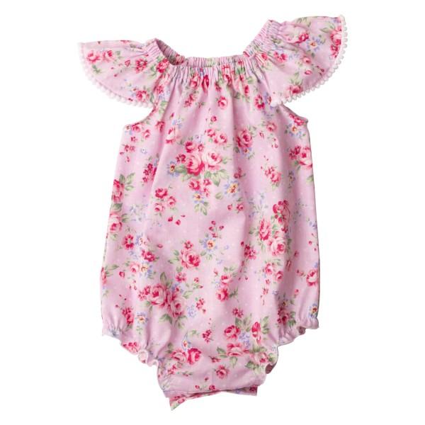 Pink Summer Floral Collection6 Flutter Sleeve Romper