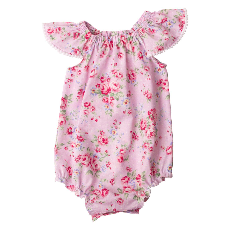 fdf98d6015b Pink Summer Floral Flutter Sleeve Romper - Tickled Pink Design