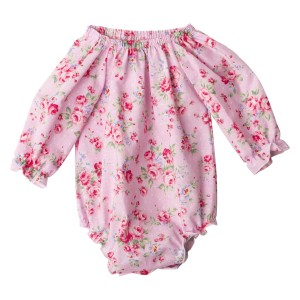 Pink Summer Floral Collection7 Long Sleeve Fabric Romper